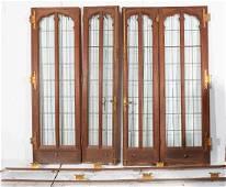 4 Panel Walnut Interior Doors with leaded glass