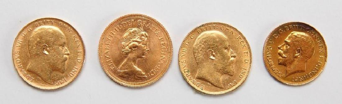 Four British Sovereign Gold Coins -1908, 1910,1925,1976