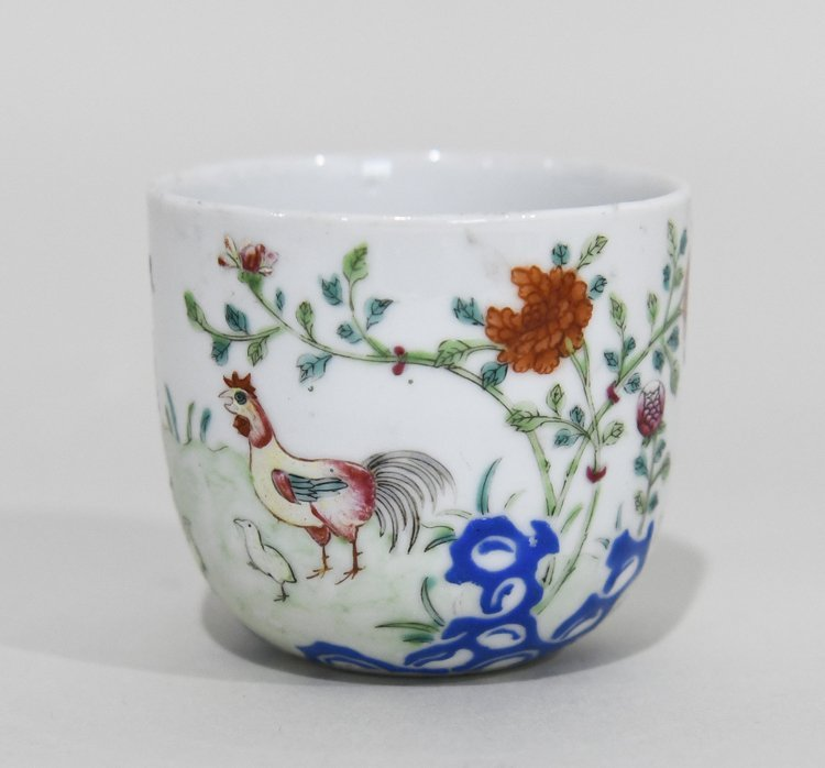 Early Chinese Porcelain Cup with Rooster - LOT