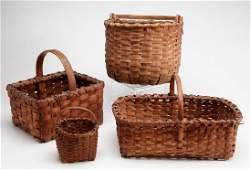 Four Antique New England Splint Baskets