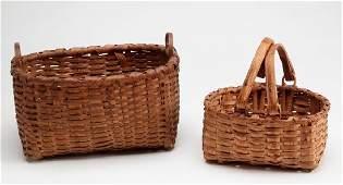 Two Antique New England Splint Baskets