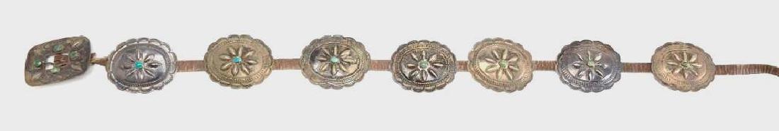 Vintage Ladies Native American Silver Concho Belt