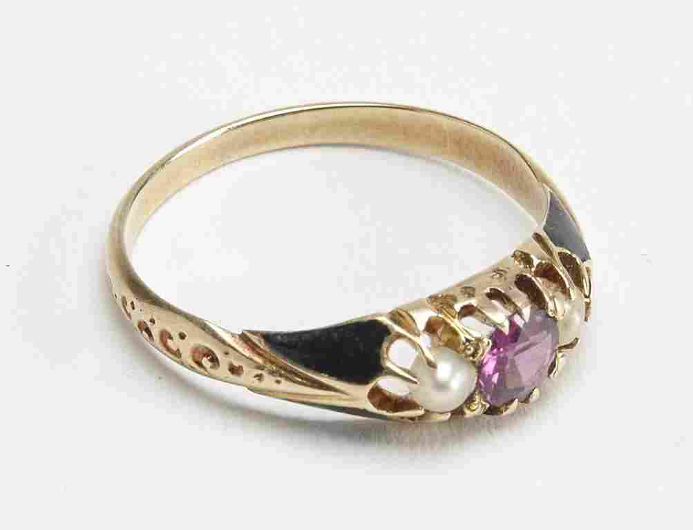 Ladies Ring - 14K Pearls and Pink Sapphire