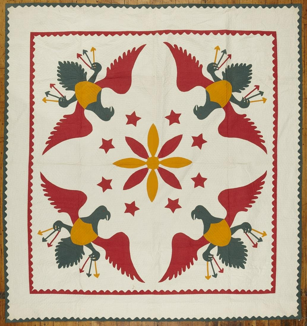 Quilt with Four Eagles dated 1878