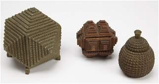 Three Antique Tramp Art Boxes