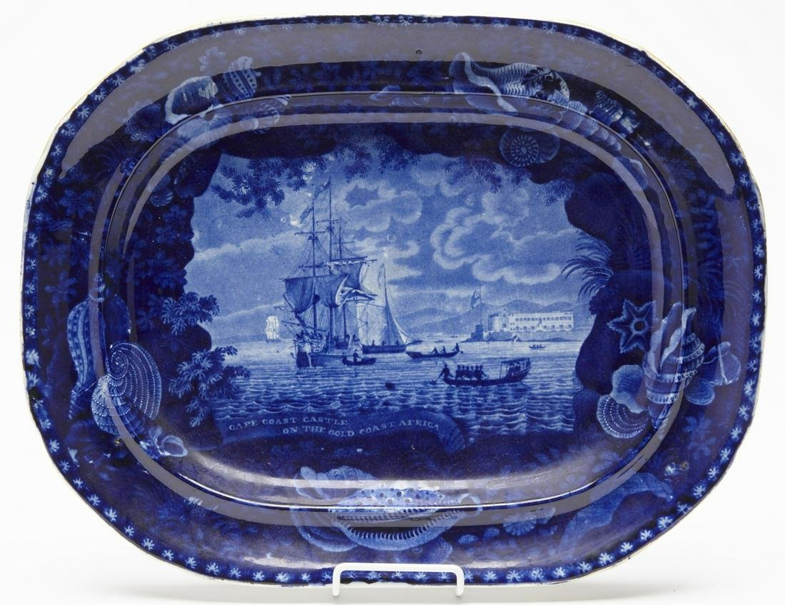 Dark Blue Staffordshire Platter of Slave Ship