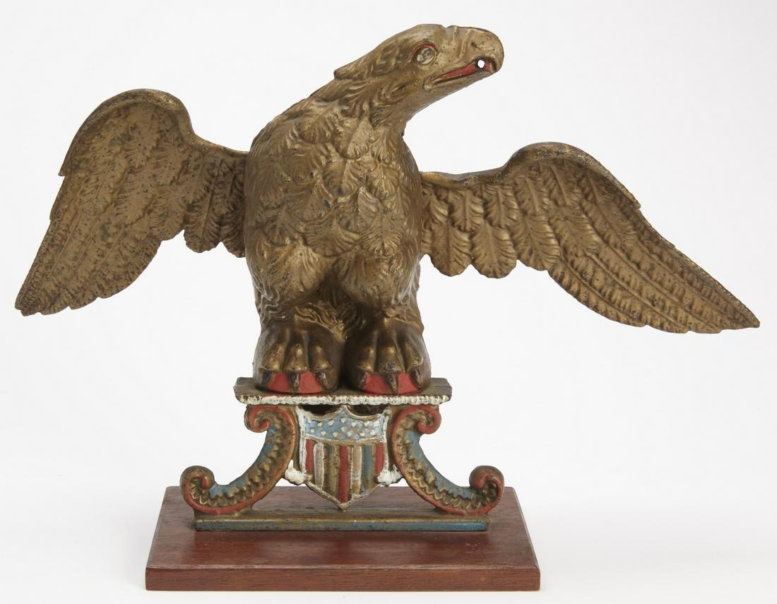 Cast Iron Painted Eagle Figure
