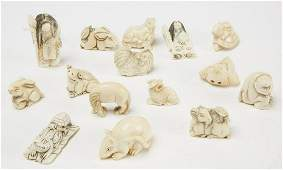 Lot of 15 Carved Bone Netsukes