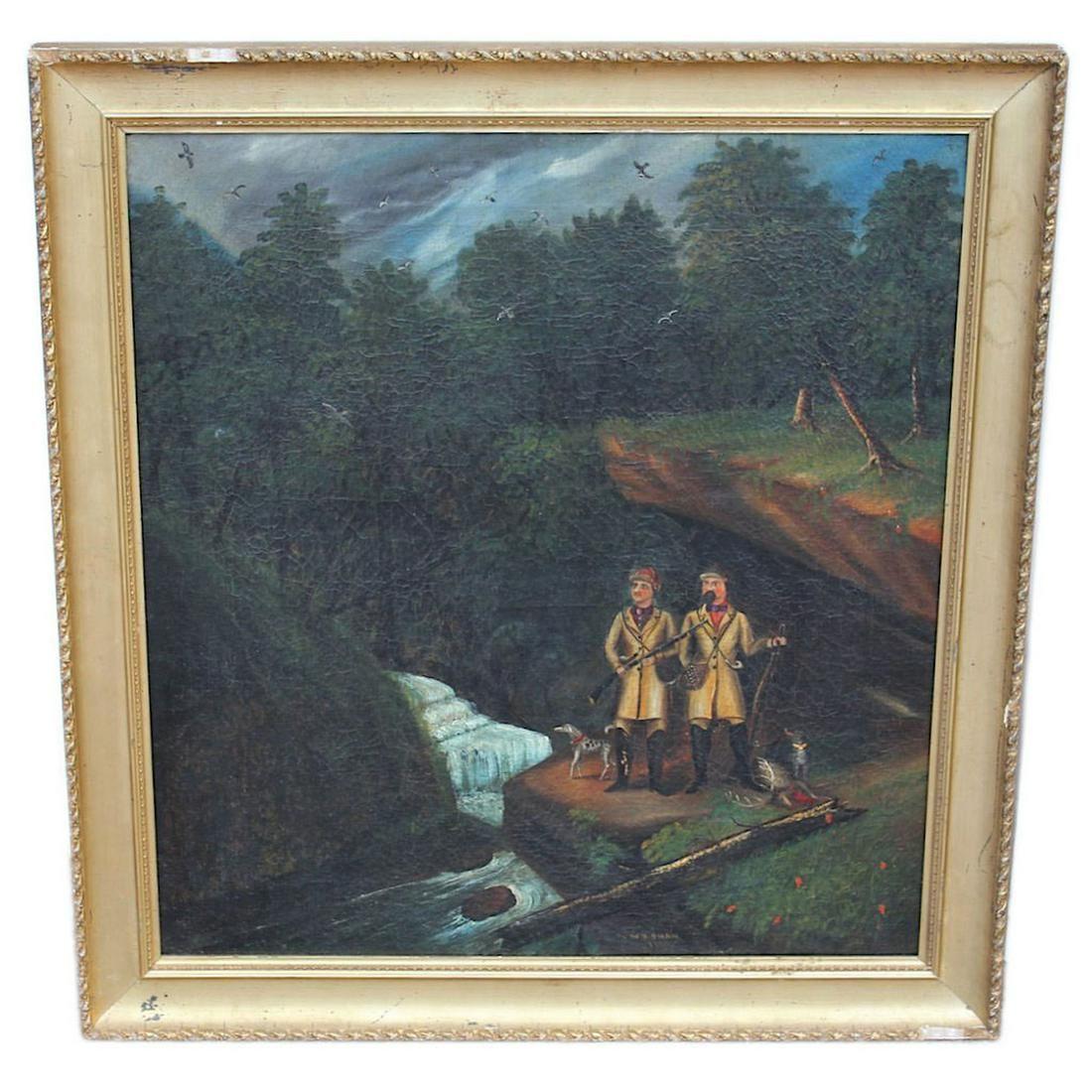 Folk Art Painting of Hunters - 1864