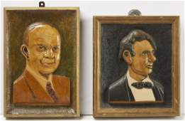 Two Folk Art Carved Presidential Portrait Plaques