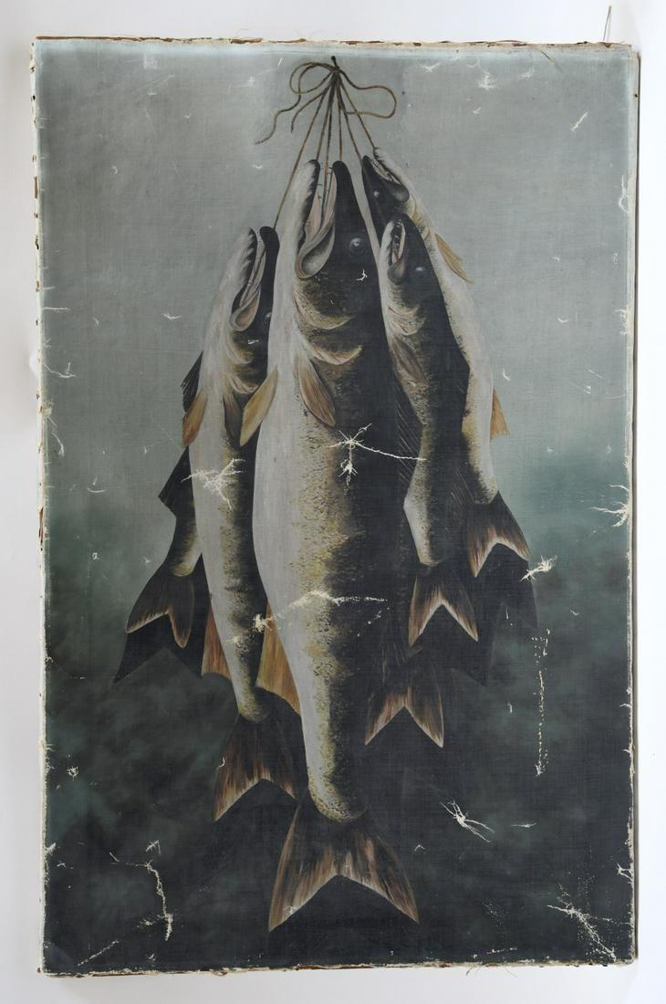 Large Folk Art Caught Fish Still Life