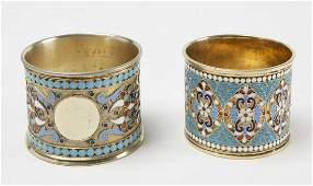 Russian Gilt Silver Cloisonne Enamle Napkin Rings
