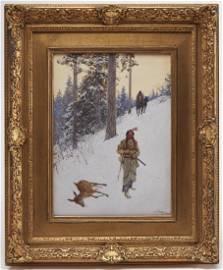 Henry Farny - Native American Hunter - dated 1902