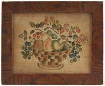 Theorem on Velvet in Paint Decorated Frame 19th C.