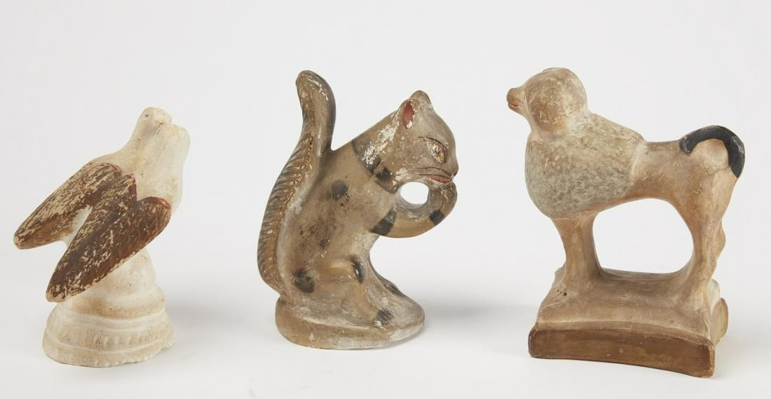 Chalkware Squirrel, Poodle & Kissing Doves