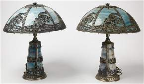 Fine Pair of Slag Panel Lamps -Empire Lamp Co.
