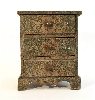 Miniature Blue Paper-Covered 3 Drawer Chest