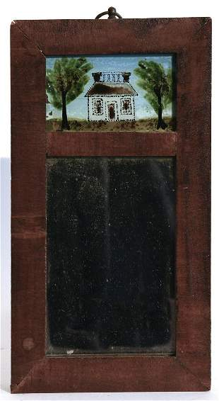 Miniature Two Part Mirror with Reverse Painting