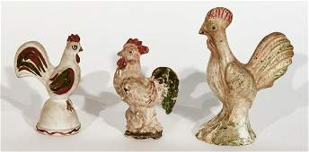 Three Chalkware Roosters