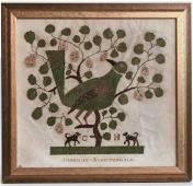 Folk Art Needlework Picture on Paper