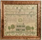 American Needlework Sampler - 1828