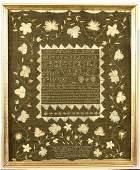 Needlework Sampler with Green Background -1799