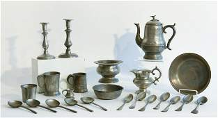 Lot of Antique Pewter 23 pieces