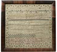 Needlework Sampler dated 1733