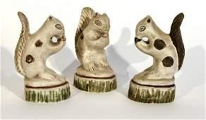 Three Chalkware Squirrels