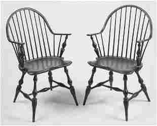 Pair of Dimes Continuous Arm Windsor Chairs