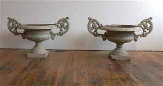Fine Pair Cast Iron Garden Urns
