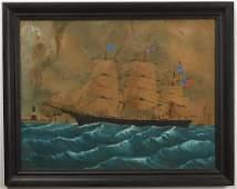 Large Primitive Schooner Watercolor