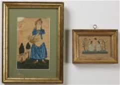 School Girl Watercolor of a Maiden plus Needlework