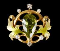 14K Pin with Peridot, pearls & Diamonds