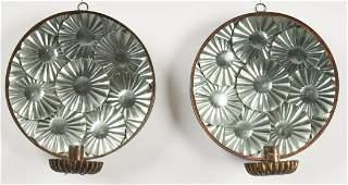 Pair of Tin Reflector Sconces