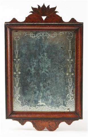 Fine Early Decorated 19th C Folk Art Mirror