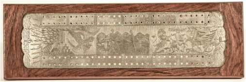 Fine Engraved Cribbage Board with Boxers