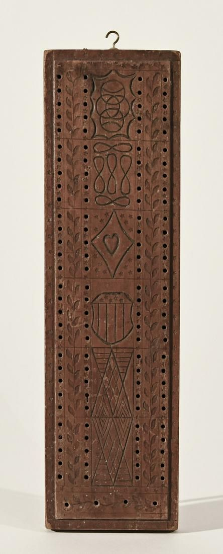 Carved Cribbage Board with Hearts and Shield