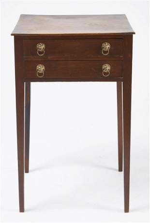 Two Drawer Mahogany Stand with Original Brass