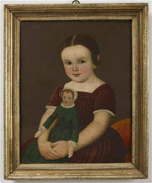 Primitive Portrait of a Girl with her Doll