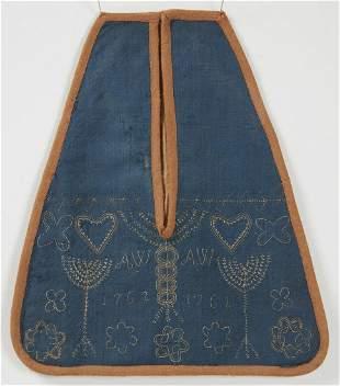 Fine Early Needlework Apron - 1762