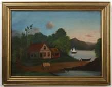 Primitive Homestead Lake Scene