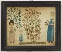 Very Fine Folk Art Needlework on Paper 1823