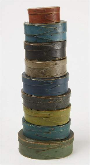 Nine Oval Painted Fingered Boxes