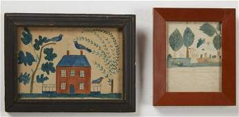 Two 19th Century School Girl Watercolors