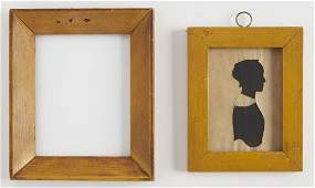 Two Miniature Portrait Frames in Yellow Paint