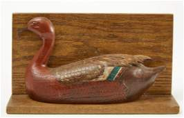 Interesting Carved and Painted Teal