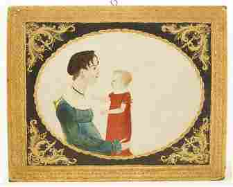 Important Mother & Child Portrait Oil on Board
