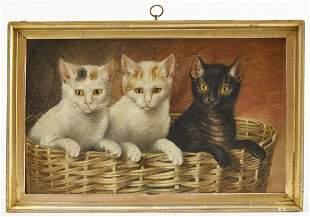 Folk Art Portraits of 3 Cats