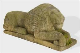 Folk Art Carved Stone Lion